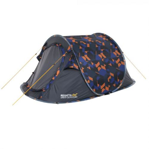 Malawi 2-Man Pop Up Festival Tent Blue Geometric Print